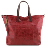 Image deAged effect leather shopping bag Red