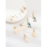 Εικόνα του6Pairs Mermaid Shell Faux Pearl Earrings Set