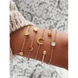 Εικόνα του5 Piece Heart Moon Chain Bracelets Set