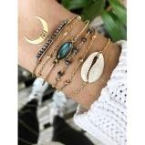 Εικόνα του6Pcs Crescent Cowrie Shell Beads Faux Gem Bracelet Set