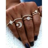 Εικόνα του6Pcs Star Moon Rhinestone Hollow Ring Set