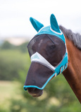 ObrázekShires Fly Mask with Ears & Nose Fine Mesh Teal Pony