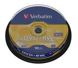 Afbeelding vanDVD+RW Verbatim 4.7GB 4x spindel 10stuks Rewritable Dvd's