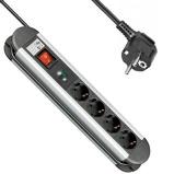Afbeelding van4 voudig stekkerdoos 1.4 meter zwart / zilver