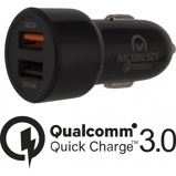 Afbeelding vanMobilize Smart Car Charger Dual USB 4.8A with QC3.0 Black