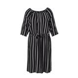 Afbeelding vanAdia gestreepte off shoulder jurk zwart