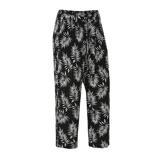 Afbeelding vanAdia loose fit broek met bladprint zwart/wit