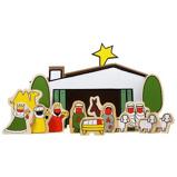Afbeelding vanDick Bruna houten kerststal in een kartonnen koffertje