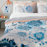 Afbeelding vanOilily dekbedovertrek Sunflowers Blauw 200x200/220 cm
