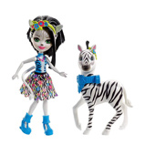 Afbeelding vanMattel Enchantimals Zebra Zelena 15 cm zwart/wit