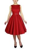 Billede af50ér kjole: Audrey Jane, rød sød swingkjole med brusende skørt