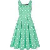 Billede af50'er kjole: Amanda sød kjole i mintgrøn med hvide bomber
