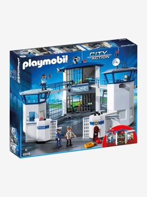 Imagem de 6919 Esquadra da polícia com prisão, da Playmobil azul claro liso com motivo
