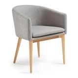 Afbeelding vanKave Home - Harlan stoel lichtgrijs en naturel