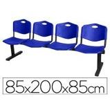 """Imagen de""""Bancada de espera de cuatro plazas y estructura de hierro en color negro Asiento y respaldo en PVC color azul Piqueras y Crespo Modelo Bienservida"""""""