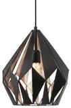 Afbeelding vanEGLO opvallende hanglamp Carlton zwart koper, voor woon / eetkamer, staal, E27, 60 W, energie efficiëntie: A++