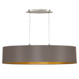 Afbeelding vanEGLO capri ovalen textiel hanglamp, 100 cm lang, voor woon / eetkamer, staal, textiel, E27, 60 W, energie efficiëntie: A++, L: 100 cm, B: 25 cm