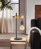 Afbeelding vanEGLO tafellamp Townshend, voor woon / eetkamer, metaal, hout, E27, 10 W, energie efficiëntie: A++, B: 15.5 cm, H: 50 cm