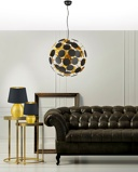 ObrázekModern hanging lamp black with gold 6 lights Cerchio