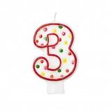 Afbeelding vanAmscan verjaardagskaars 3 Polka Dots 7,6 cm rood/wit