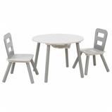 Afbeelding vanKidKraft Kinderopbergtafel en stoelen set grijs massief hout 26166
