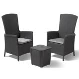 Imagen deAllibert Conjunto de muebles de jardín Vemont 3 piezas gris grafito 231692