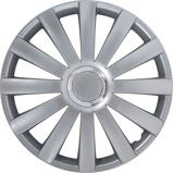 Afbeelding van4 Delige Wieldoppenset Spyder 15 inch Zilver + Chroom Ring