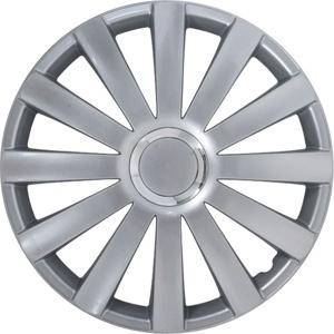 Afbeelding van 4 Delige Wieldoppenset Spyder 15 inch Zilver + Chroom Ring