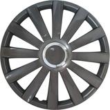 Afbeelding van4 Delige Wieldoppenset Spyder 15 inch Gun metal + Chroom Ring
