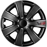 Afbeelding van4 Delige Wieldoppenset VR 13 inch Zwart/carbon look/logo