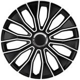 Afbeelding van4 Delige Wieldoppenset Voltec Pro 15 inch Zwart/wit