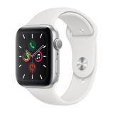 Afbeelding vanApple Watch Series 5 44mm Zilverkleurig aluminium Wit sportbandje