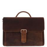 "Afbeelding vanPlevier Darwin Old Skool Vintage Bag 2-Vaks 15.6"" Brown - Laptop Schoudertassen"