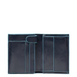 Afbeelding vanPiquadro Blue Square Vertical Wallet 10 Cards With Coin Case Night Heren portemonnees