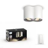 Afbeelding vanphilips Hue White Ambiance Pillar 2 lamps wit, voor woon / eetkamer, metaal, GU10, 5.5 W, energie efficiëntie: A, L: 19.3 cm, B: 10.3 H: 12 cm