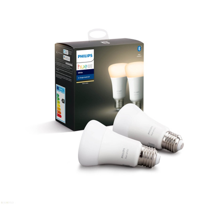 Afbeelding van philips Hue White 9W E27 LED lamp, 2per set, kunststof, E27, 9 W, energie efficiëntie: A+, L: 11 cm