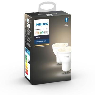 Afbeelding van philips Hue White 5,2 W GU10 LED lamp, 2per set, kunststof, GU10, 5.2 W, energie efficiëntie: A+, L: 5.8 cm