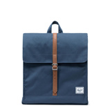 Image ofHerschel City Mid Volume Navy Tan Synthetic Leather Rugzak 10486 00007 OS