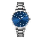 Afbeelding vanCLUSE Aravis Zilverkleurig/Blauw horloge CW0101501011