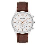 Afbeelding vanMats Meier Grand Cornier chronograaf heren horloge wit/bruin