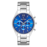 Afbeelding vanMats Meier Grand Cornier chronograaf heren horloge blauw/zilverkleurig staal