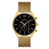 Afbeelding vanMats Meier Grand Cornier chronograaf heren horloge zwart/goudkleurig mesh