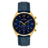Afbeelding vanMats Meier Grand Cornier chronograaf heren horloge blauw/goudkleurig staal