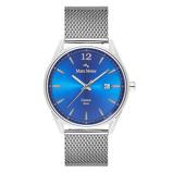 Afbeelding vanMats Meier Castor heren horloge blauw/zilverkleurig mesh