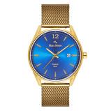 Afbeelding vanMats Meier Castor heren horloge blauw/goudkleurig mesh