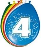 Afbeelding vanAmigo Ballonnen ster 30 cm: 4 jaar 8 stuks