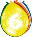 Afbeelding vanAmigo Ballonnen ster 30 cm: 6 jaar 8 stuks