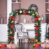 Immagine diArco natalizio con luci 160 LED Festone natalizio per porta in PVC con fiori decorati 228x152cm