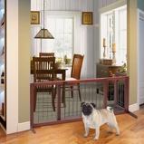 Immagine diCancello di sicurezza in legno per animali domestici Barriera di sicurezza regolabile per cane e bambini (105x181)x45x53cm