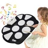 Immagine diCostway 10 Pad tamburo elettronico di silicone pieghevole USB con bacchette e pedali per bambini